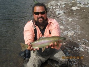 fly fishing for rainbow trout in Chile